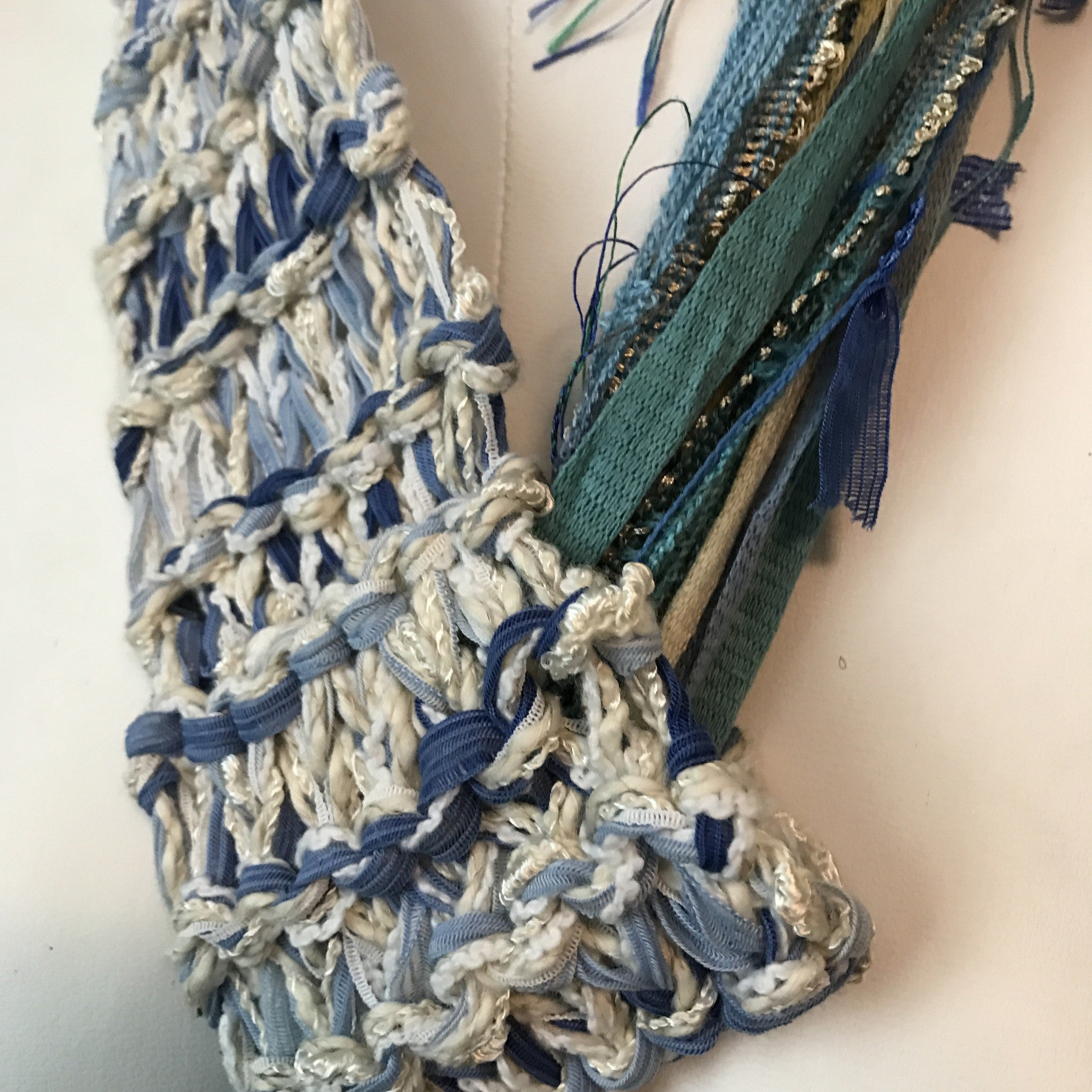 White & Blue Tweed Adjustable Scarf (AS61)