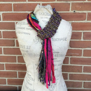 Brown & Purple Tweed Adjustale Scarf, (AS62)