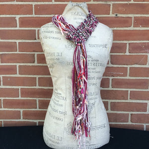 Burgandy Tweed Adjustable Scarf, (AS64)
