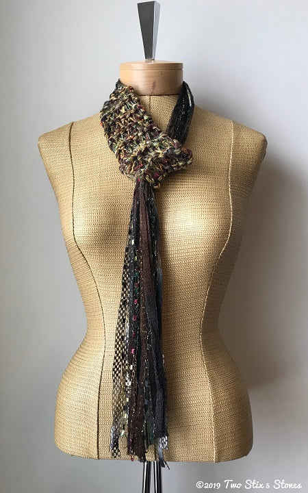 Olive/Gold/Brown Tweed Adjustable Scraf/Tie