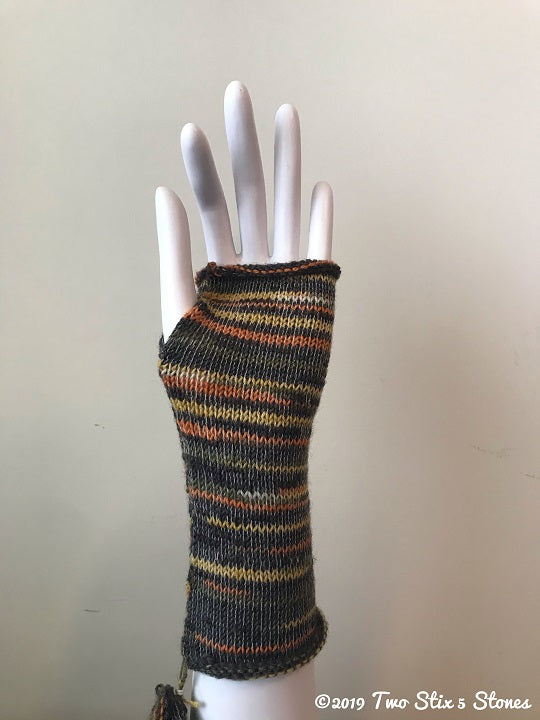 Brown & Copper Tweed Fingerless Gloves