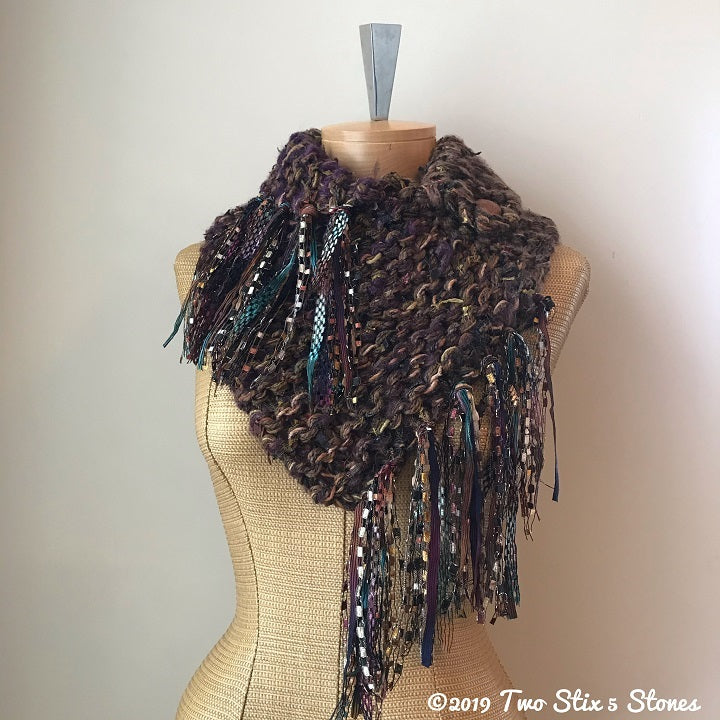 Luxe Brown Tweed Shawlette w/Fringe