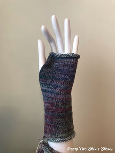 Purple & Blue Tweed Fingerless Gloves