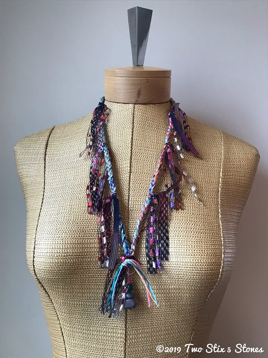 Turquoise Toned Fiber Necklace w/Stones