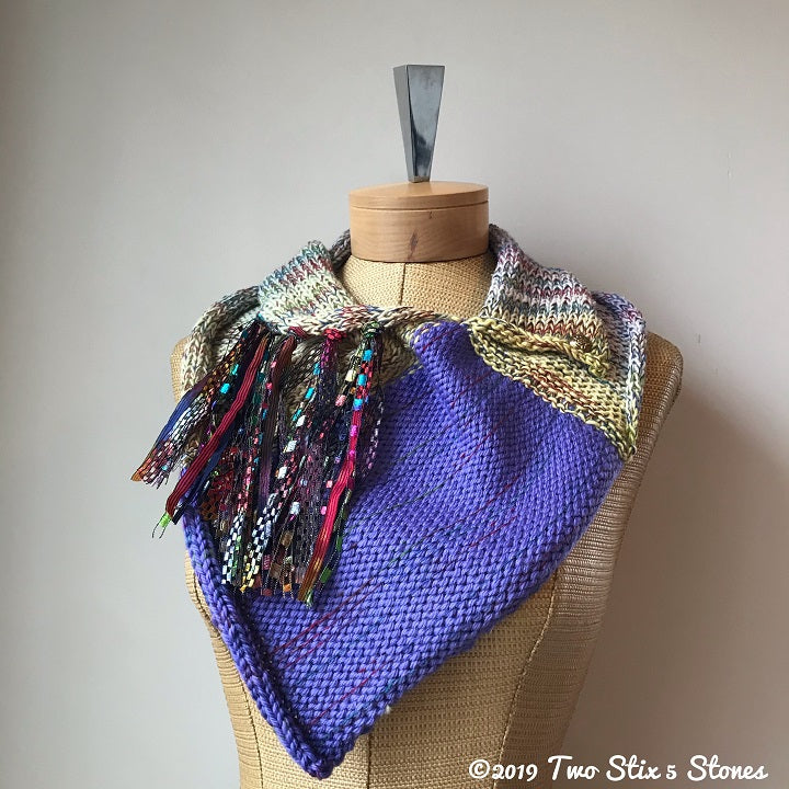 Yellow & Purple Tweed Shawlette
