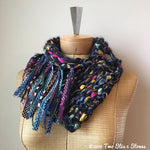 Navy Blue Colorful Tweed Shawlette