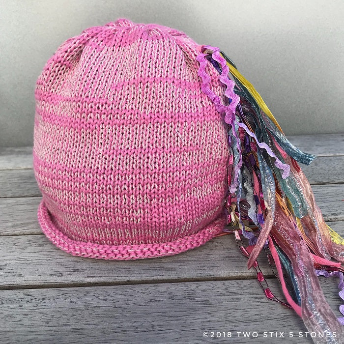 Newborn Baby-Pink Tweed *Funky Chic Hat* (BCF05)