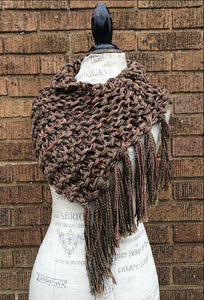 Brown Tweed Shawl w/Fringe