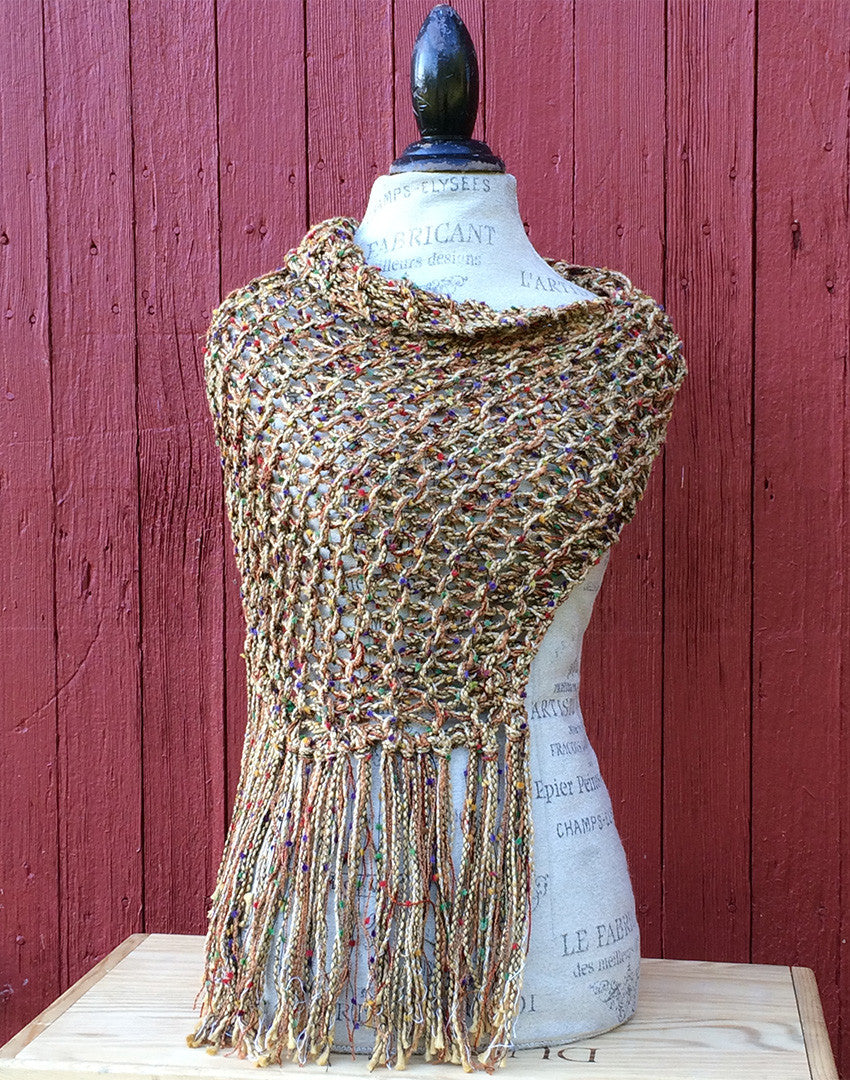 Golden Tweed Shawl w/Fringe