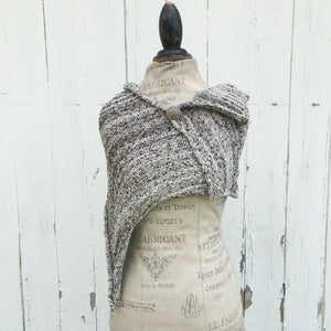 Black & White Tweed Fine Knit Shawl