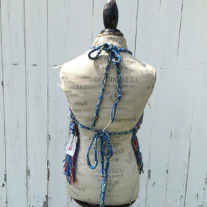 Blue Tweed Halter w/Fringe