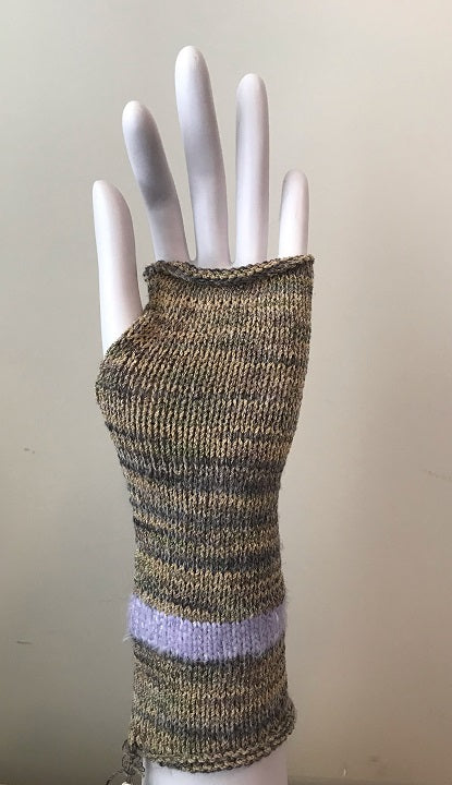 Tan Tweed w/Lavender Stripe Fingerless Gloves