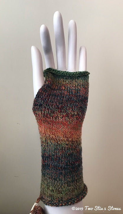 Green & Orange Variegated Tweed Fingerless Gloves