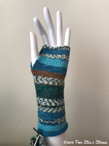 Blue/Cream/Mocha Fingerless Gloves
