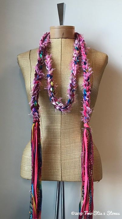 Hot Pink Tweed Decorative Scarf/Belt