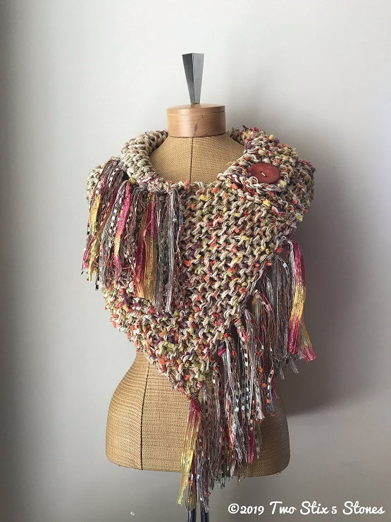 Orange & Yellow Tweed Shawl w/Fringe