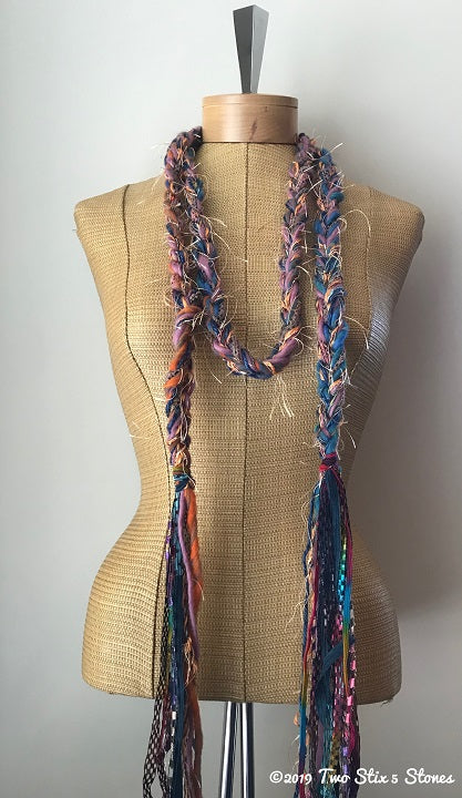 Lavender/Blue/Orange Tweed Decorative Scarf/Belt