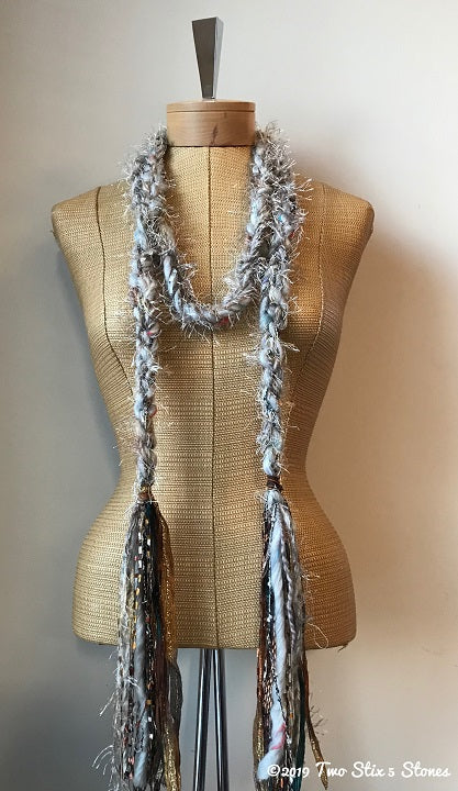 Beige & Grey Tweed Decorative Scarf/Belt