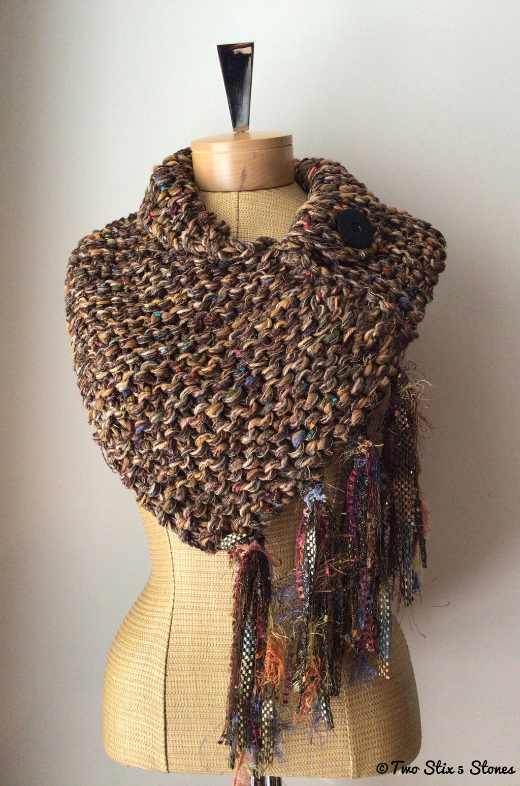 Luxe Brown Tweed Shawl w/Fringe