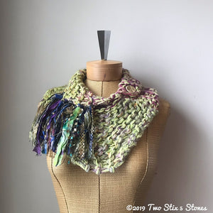 Lime Green Tweed Shawlette w/Fringe