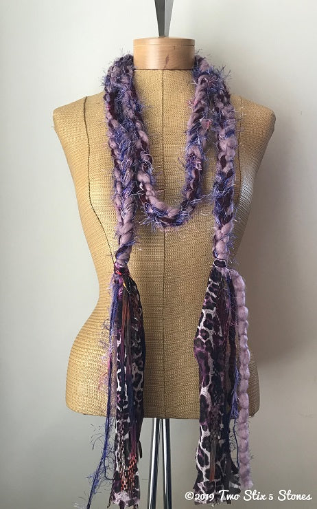 Lavender & Purple Tweed Decorative Scarf/Belt