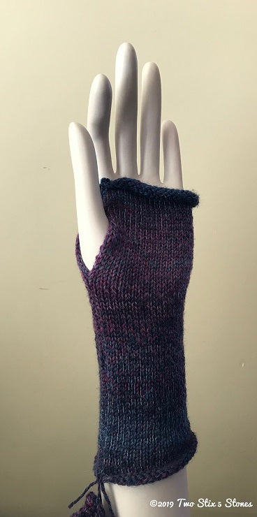 Green & Wine Tweed Fingerless Gloves