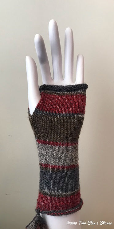 Grey/Tan/Red Variegated Tweed Fingerless Gloves