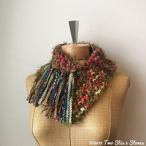 Red & Green Tweed Shawlette