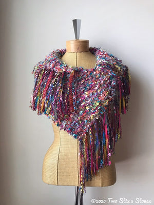 Luxe Colorful Shawl w/Gold Metallic Accents & Fringe