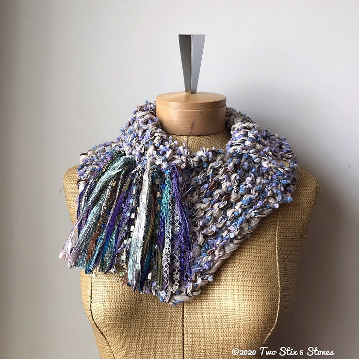 Luxe Lavender & Oatmeal Tweed w/Metallic Accents Shawlette