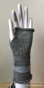 Grey w/Metallic Accents Fingerless Gloves