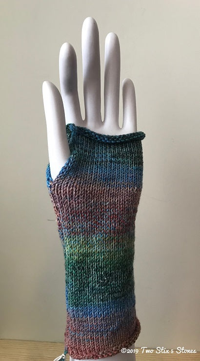 Blue/Green/Red Variegated Tweed Fingerless Gloves