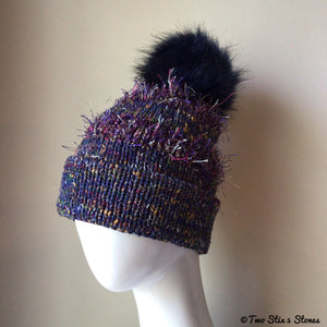 Luxe Purple Tweed Beanie/Slouchy Beanie w/Faux Fur Pom