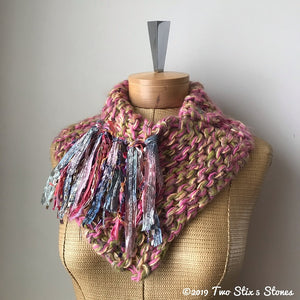 Pink/Yellow/Green Tweed Shawlette