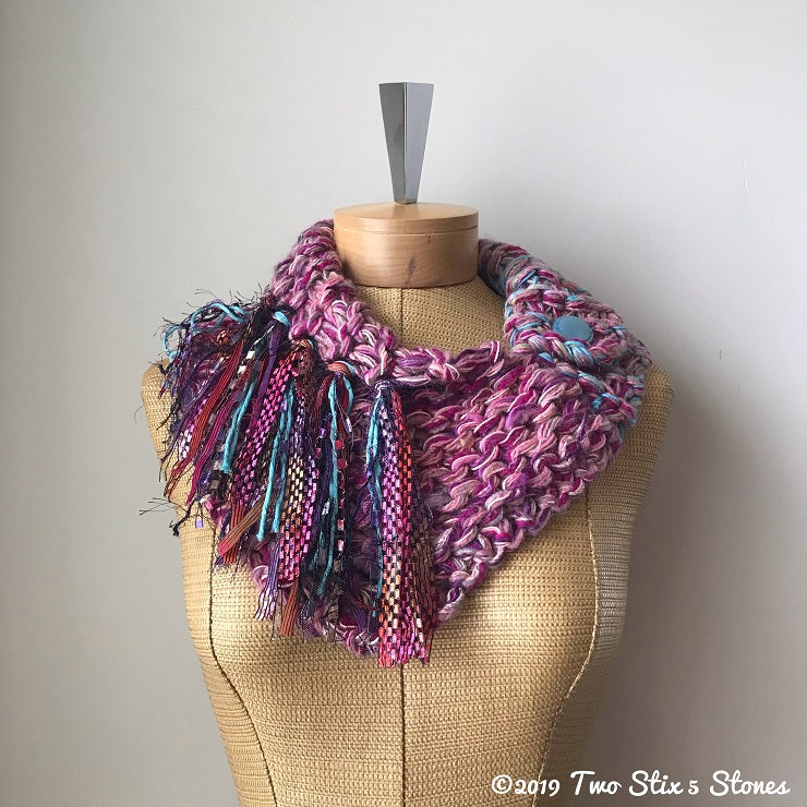 Pink & Purple Tweed Shawlette