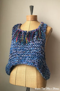 Blue Tweed Slip-over w/Fringe