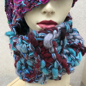 Purple, Blue, Grey Tweed Chunky Neckwarmer (CW2)