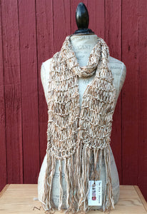 Cream & GoldTweed Unisex Scarf w/Fringe
