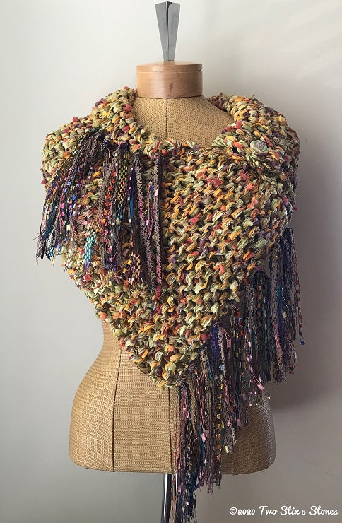 Luxe Green & Yellow Tweed Shawl w/Fringe
