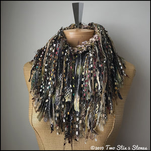 Exotic Brown Tweed Infinity Scarf w/Fringe