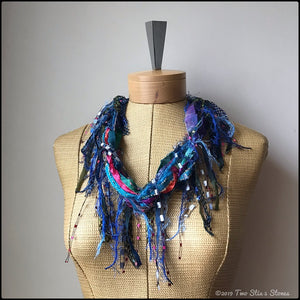 Blue/Green/Red Tone *Funk Chic* Fiber Necklace