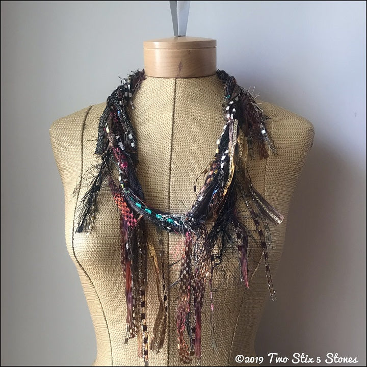 Brown Toned Fiber Necklace