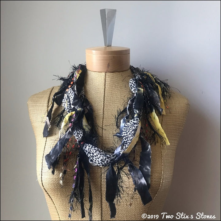 Black/Grey/Yellow Fiber Necklace