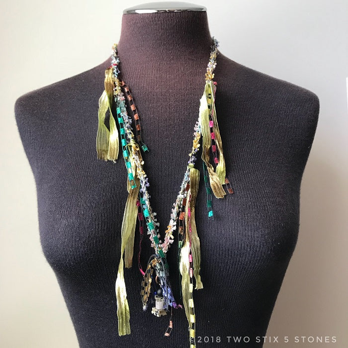 Pastel Toned Fiber Necklace w/Stones (FCN000)