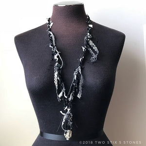 Black & White Fiber Necklace w/Stones (FCN002)
