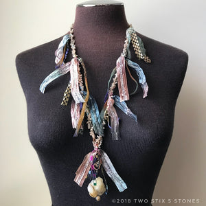 Pastel Tweed Fiber Necklace w/Stones (FCN004)