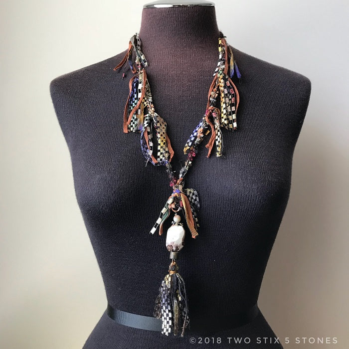 Brown Toned Fiber Necklace w/Stones (FCN007)
