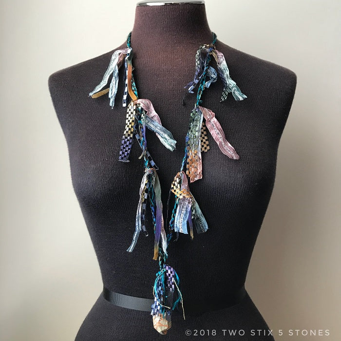 Blue & Green Tweed Fiber Necklace w/Stones (FCN019)