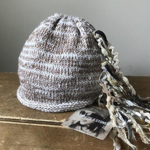 NB-12M Ivory & Chocolate Tweed *Funky Chic Hat* (FCNA14)