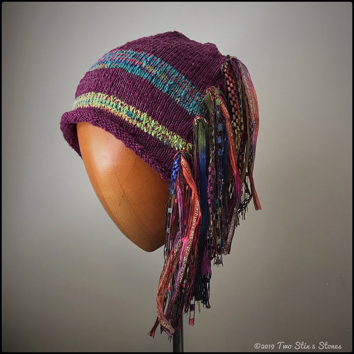 Fuchsia w/Metallic Tweed Stripes Signature *Funky Chic Hat*